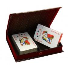 Naipes de pocker por 2 en caja simil cuero 358 gp