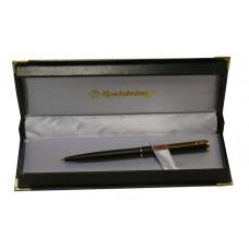 Bolígrafo con sello Goldring. Retráctil cuerpo fino negro con detalles en oro..