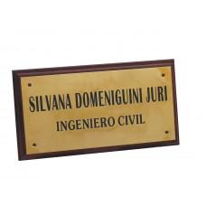 Chapa o Placa para profesional universitario de bronce plana