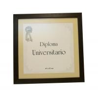 Marco para diploma universitario moldura 10 marrón con passepartout
